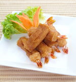 Shrimp spring rolls and thai spring rolls Stock Photo