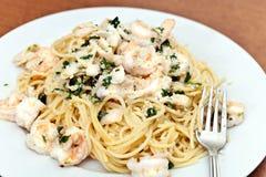 Shrimp and Squid Pasta Stock Photos