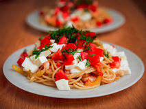Shrimp and squid with pasta Royalty Free Stock Photos