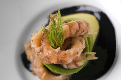 Shrimp starter. Dish with shrimp starter close up Stock Photos