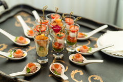 Shrimp starters on the banket table stock images