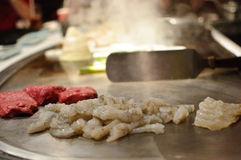 Shrimp and Steak at a Japanese Restaurant Royalty Free Stock Photo