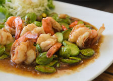 Shrimp stir-fried with stink beans Royalty Free Stock Photography
