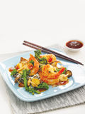 Shrimp stir fry. With Chinese vegetables, Thai sauce and chop sticks Stock Image