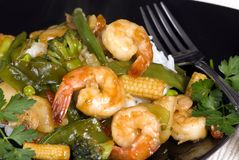 Shrimp Stir fry over rice 2 Royalty Free Stock Photography