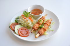 Shrimp on Sugarcane. A traditional Vietnamese dish. Shrimp paste wrapped Stock Photos