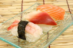 Shrimp, surf clam and salmon sushi Royalty Free Stock Images