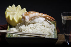 Shrimp sushi on a bowl of rice Stock Photos