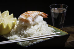 Shrimp sushi on a bowl of rice Royalty Free Stock Photo
