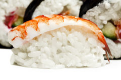 Shrimp sushi closeup on white background Stock Photography