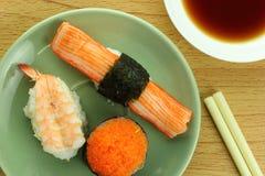 Shrimp sushi crab stick sushi and shrimp eggs sushi with shoyu sauce Royalty Free Stock Images