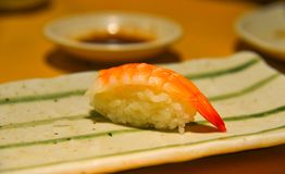 Shrimp sushi on dish royalty free stock photography