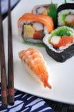 Shrimp sushi on plate Stock Photo