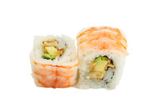 Shrimp sushi roll isolated on white background Stock Images