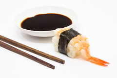 Shrimp Sushi with Soy Sauce and Chopstick. Stock Photography