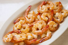Shrimp. Tasty shrimp with butter and garlic Stock Image
