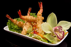 Shrimp Tempura on plate Stock Images