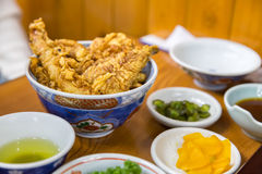 Shrimp tempura on rice Royalty Free Stock Images