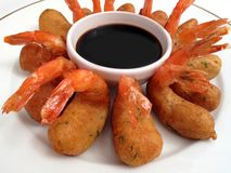 Shrimp Tempura & Sauce Royalty Free Stock Image