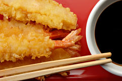 Shrimp Tempura with Soy Sauce Stock Photography