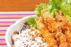 Shrimp tempura with stream rice Stock Image