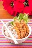 Shrimp tempura and stream rice Stock Images