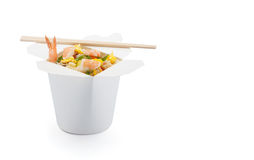 Shrimp teriyaki with japanese rice in box isolated Stock Photography