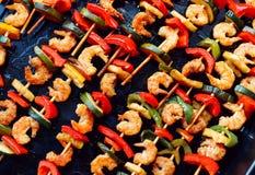 Shrimp teriyaki kebabs on baking Royalty Free Stock Photos