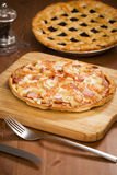 Shrimp Thin Crust Pizza_2013-3. Shrimp Thin Crust Pizza on a desk Royalty Free Stock Photo
