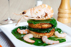 Shrimp on a toast with vegetables Stock Photo