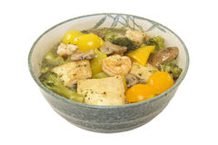 Shrimp,Tofu,Broccoli,Mushroom and Bell Pepper Stew Royalty Free Stock Photos