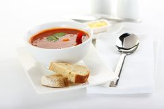 Shrimp tomato soup. In white bowl Royalty Free Stock Photos