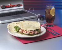 Shrimp Tortilla. Tortilla with salad and shrimp and a coke Stock Photo