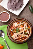 Shrimp Tortilla Soup. Bowl of hot delicious shrimp tortilla soup garnished with green onion, fresh cilantro, and salsa Royalty Free Stock Photography