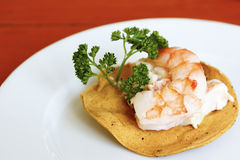 Shrimp tostada royalty free stock photo