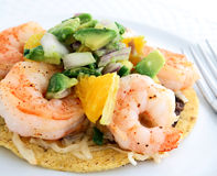 Shrimp tostada with avacodo salsa Royalty Free Stock Images