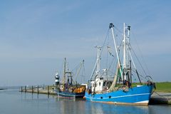 Shrimp trawler. Ina small harbour near Bremerhaven, Germany stock image