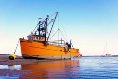 Orange fishing trawler . royalty free stock photo