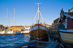 Shrimp trawls. Shrimp trawler which is moored to the pier at Halden's Inner Harbour Royalty Free Stock Photos
