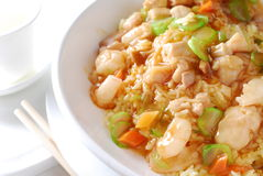 Shrimp vegetable fried rice Stock Photography