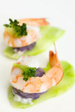 Shrimp. Vegetable salad with delicious shrimp Stock Photo