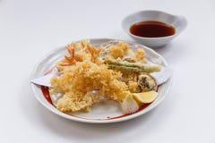 Shrimp and Vegetable Sweet Potato, Scallion and Daikon Tempura Served with Tentsuyu, Mince Daikon and Lemon Royalty Free Stock Photo