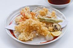 Shrimp and Vegetable Sweet Potato, Scallion and Daikon Tempura Served with Tentsuyu, Mince Daikon and Lemon Royalty Free Stock Images