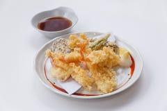 Shrimp and Vegetable Sweet Potato, Scallion and Daikon Tempura Served with Tentsuyu, Mince Daikon and Lemon Stock Images