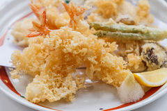 Shrimp and Vegetable Sweet Potato, Scallion and Daikon Tempura Served with Tentsuyu, Mince Daikon and Lemon Royalty Free Stock Photos