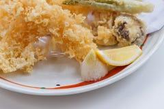 Shrimp and Vegetable Sweet Potato, Scallion and Daikon Tempura Served with Tentsuyu, Mince Daikon and Lemon Stock Photos