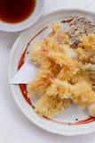 Shrimp and Vegetable Sweet Potato, Scallion and Daikon Tempura Served with Tentsuyu, Mince Daikon and Lemon Stock Image