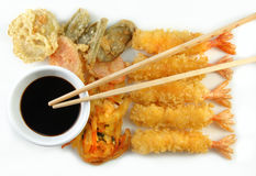 Shrimp Vegetable Tempura and Chopsticks Royalty Free Stock Photography