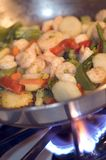 Shrimp with vegetables Stock Photo