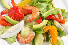 Shrimp and vegetables Stock Images